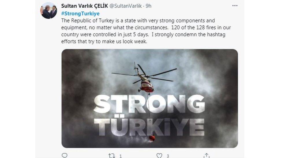 Сообщение в Твиттере, осуждающее призывы к международной помощи