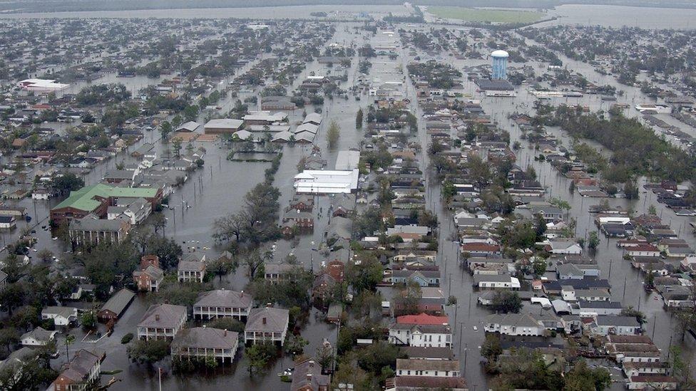 """Последствия урагана """"Катрина"""", фото 29 августа 2005 года"""