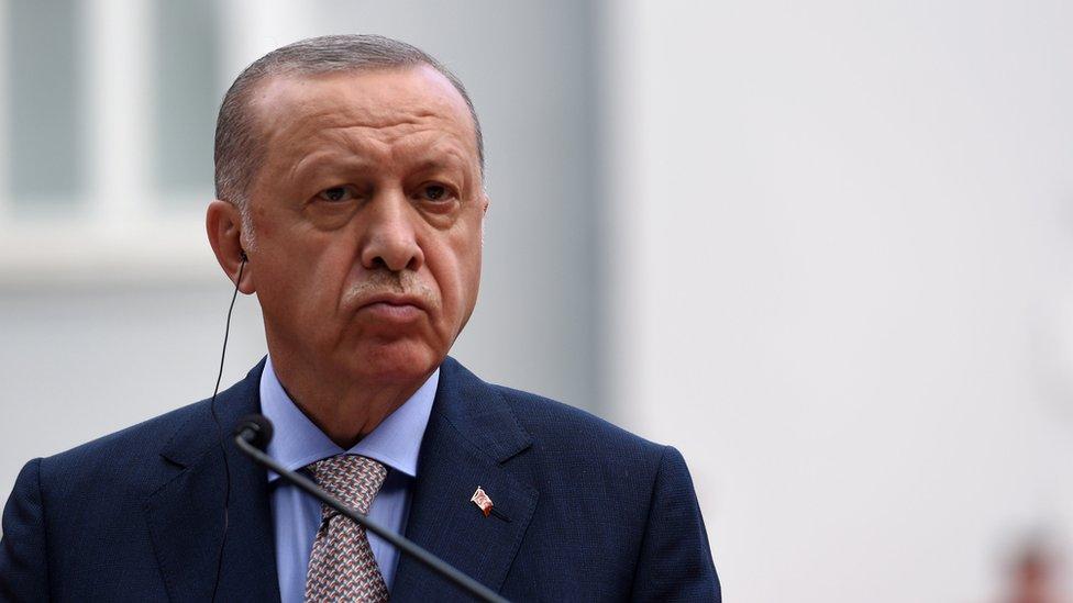 Президент Турции Реджеп Тайип Эрдоган выступает на пресс-конференции в Цетинье, Черногория (28 августа 2021 г.)