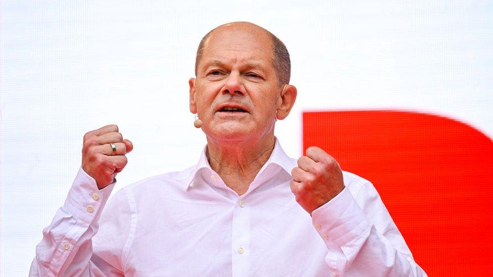 Олаф Шольц на предвыборном митинге