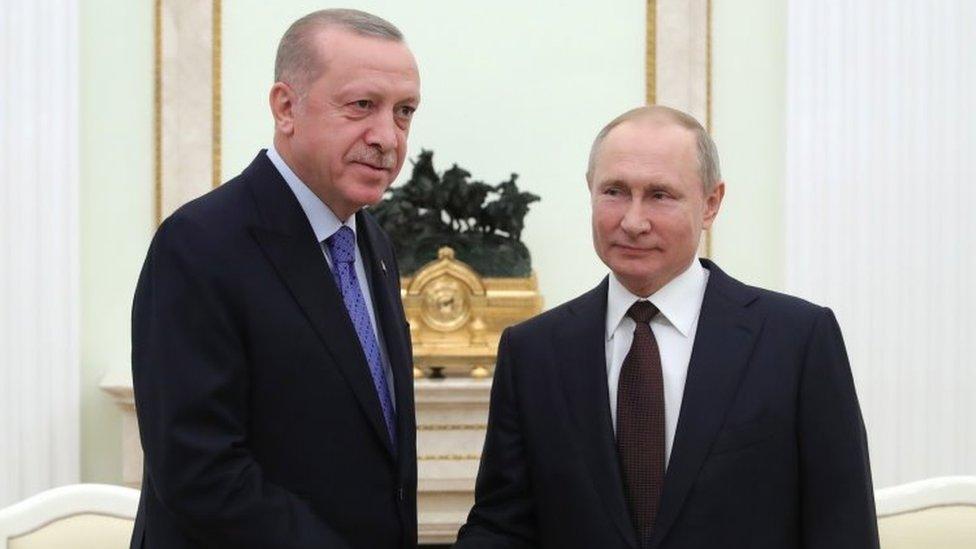 Путин встречался с Эрдоганом в Москве в марте 2020 года