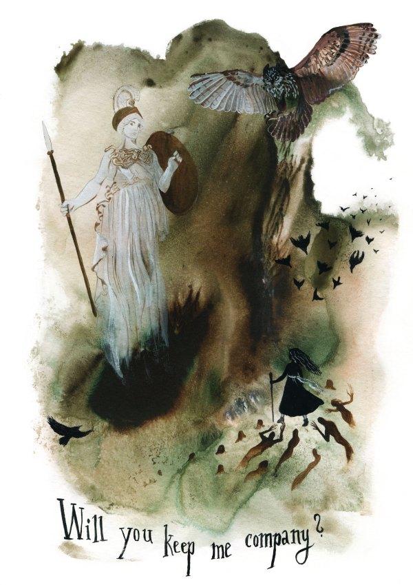 Athena Watercolor Art Print by Sova Huova
