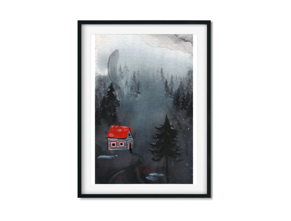 Cabin in the Woods art print by Sova Hůová