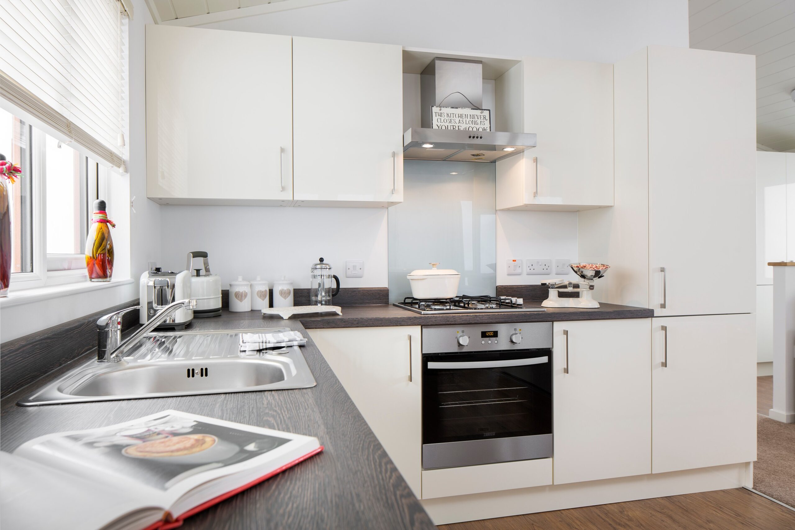 sovereign modular buildings - interior of park home and holiday lodge example - kitchen specification example