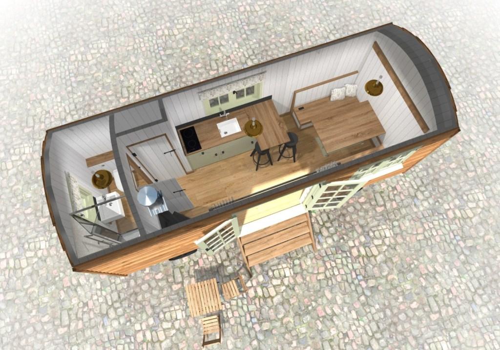 sovereign modular buildings - shepherds hut - glamping pods designs - satelitte view of interior design