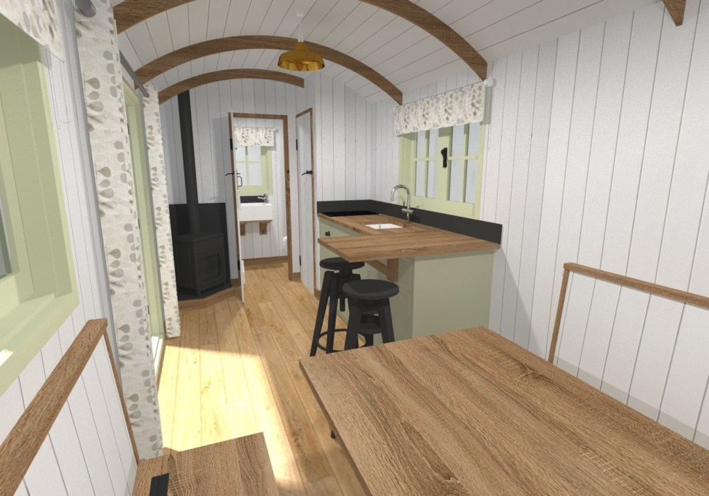 sovereign modular buildings - shepherds hut - glamping pods designs - interior layout