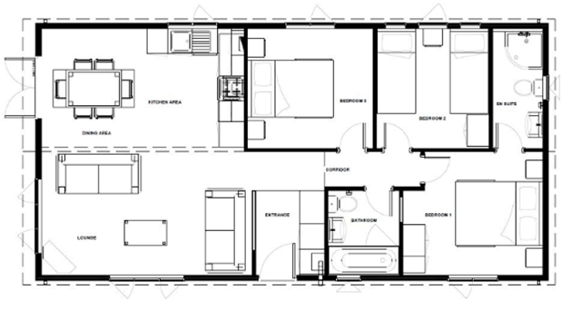 the woodland holiday lodge example floor plan with three bedrooms