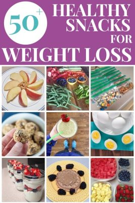 Pinterest imaged saying 50+ Healthy Snacks for Weight Loss with a collage of healthy snack pictures