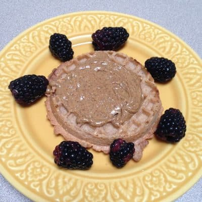 Toasted Van's multigrain waffle with peanut butter and blackberries for a healthy snack