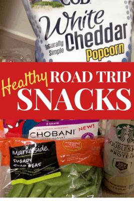 Healthy Road Trip Snacks - white cheddar popcorn, Chobani, sugar snap peas, etc