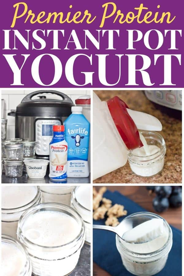 Showing steps to make Premier Protein Instant Pot yogurt - ingredients laid out, pouring mixture into jars, frothy milk in jars, and a spoonful of finished yogurt