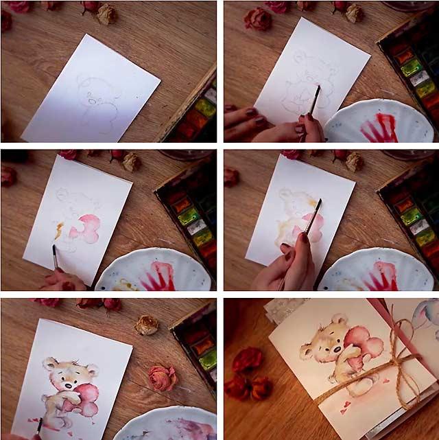Как сделать открытку с днем рождения нарисовать, поздравления коллеге рождением