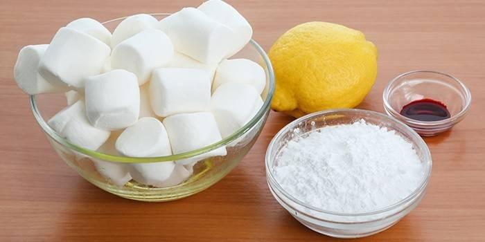 Маршелло, лимон, қант ұнтағы және бояу