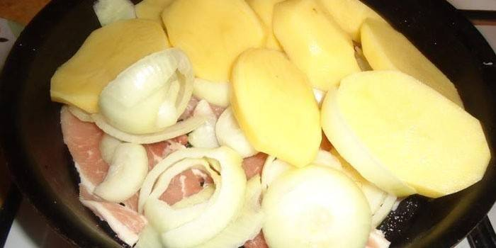 Meat, onions and potatoes in a pan