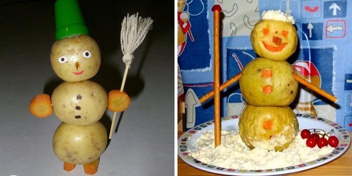 снеговик из картошки картинки фотомозаика составляется