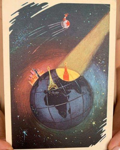 Carte Propagande Spatiale URSS – Sputnik Paris NY