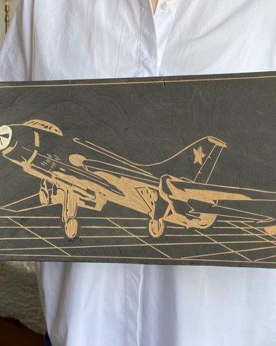 Gravure sur Bois – SU-17 – Aviation