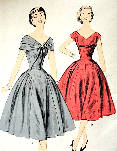 Pricess Line : pricess, 1950s, BEAUTIFUL, Draped, Shoulder, Princess, Cocktail, Party, Evening, Dress, Pattern, ADVANCE, Lovely, Styles, Special, Ocassion, Vintage, Sewing, FACTORY, FOLDED