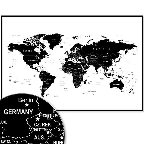Weltkarte Wanddekoration Design Style Worldmap 120 X 80