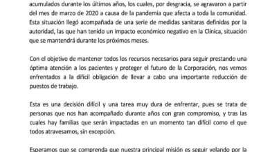 Photo of CLÍNICA ALEMANA INFORMA REDUCCIÓN DE PERSONAL DEBIDO A CRISIS