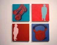 acrylic paintings on display