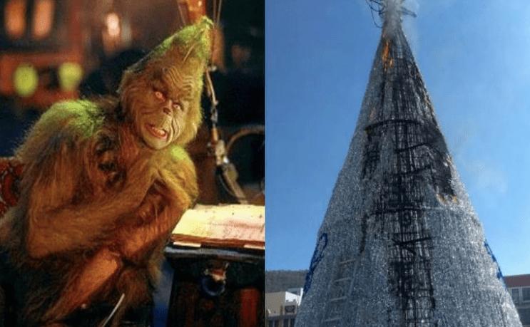 Grinch de Pachuca: Hombre prende fuego a árbol de navidad