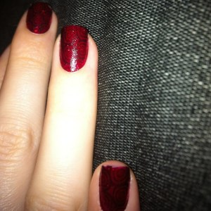 China Glaze Ruby Kiko Iced black Pumps stamping