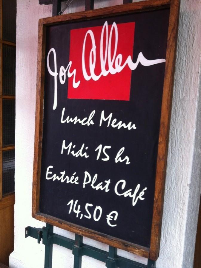 Joe Allen Menu Restaurant