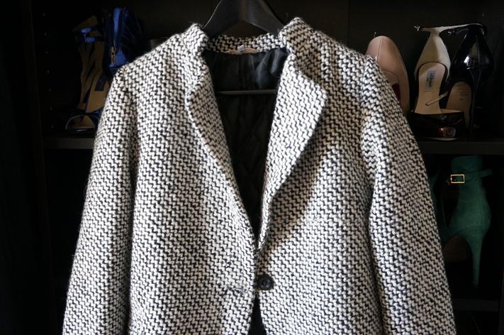 Manteau She Inside SheInside - Black & White Long Sleeve Oversize Houndstooth Coat (3)