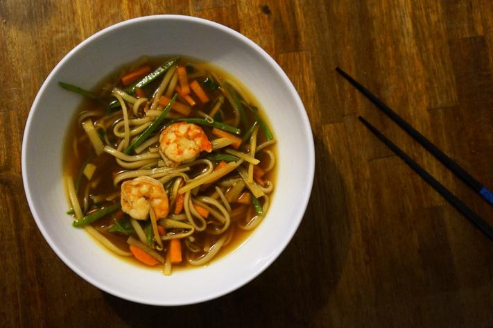 Atelier Cook and Go Paris Avis - Menu Tokyo - Soupe de nouilles udon et gambas