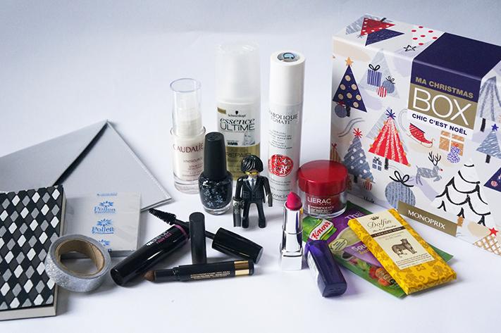My Christmas Box Noël Chic Monoprix 2014 : Rimmel, Caudalie, Garancia, L'Oréal, Lierac, Monop' Make Up, OPI, Shwarzkopf