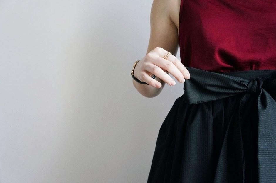 Jupe longue Pastel Blousette Rose patron couture avis detail noeud