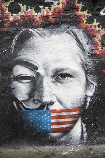 Julian Assange as Guy Fawkes