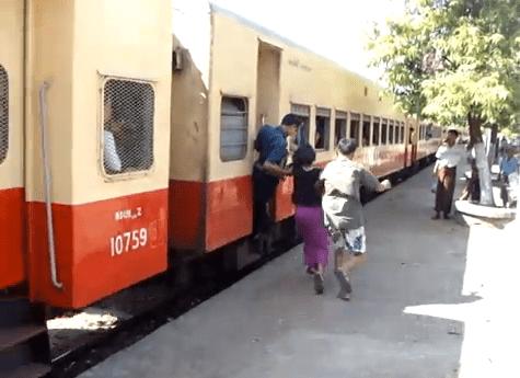 Coger un tren en marcha en Myanmar