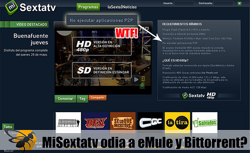 MiSexta TV odia a eMule y BitTorrent