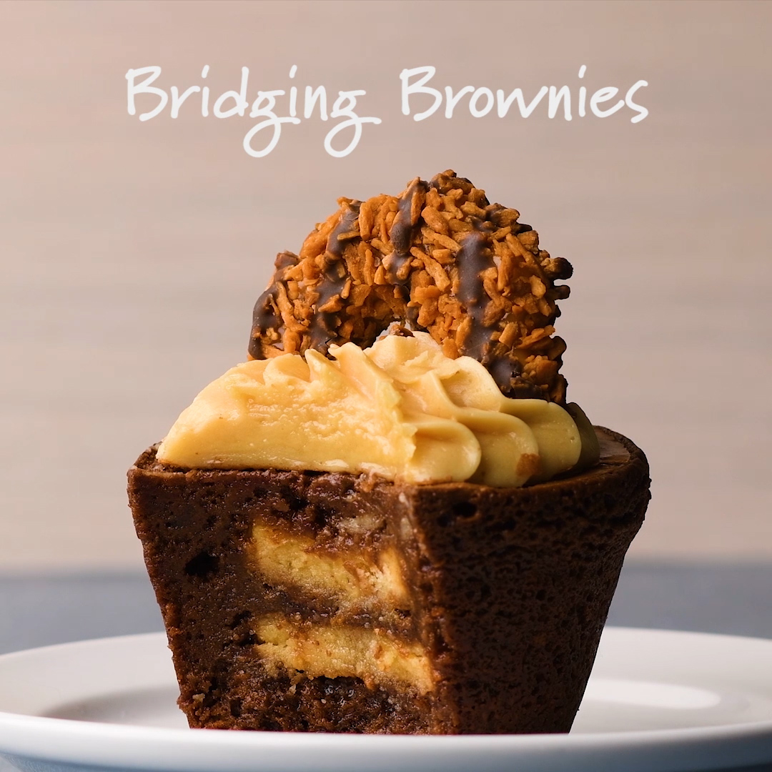 Girl Scout Samoa Cookie Brownie Cupcakes