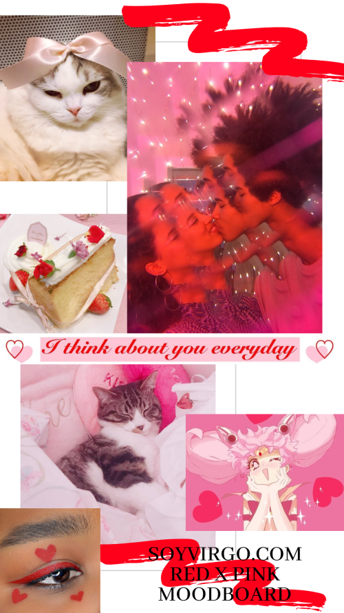 red and pink moodboard collaboration post cute cat pink red makeup cake aesthetic