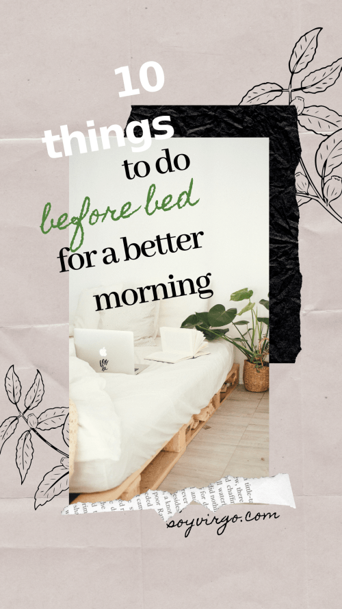things to do before bed for a better morning pinterest cover soyvirgo.com