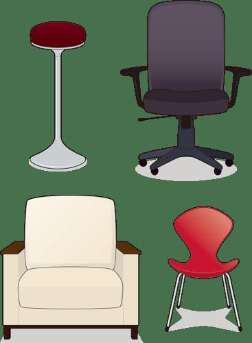 4種類の椅子のイラスト