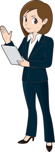 タブレットを持って説明している女性ビジネスマンのイラスト