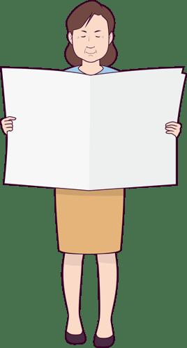 新聞を読んでいるシニア女性のイラスト