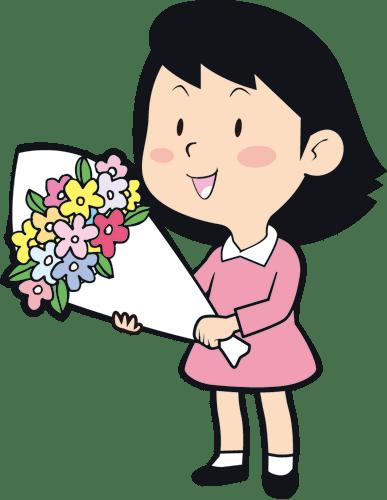 花束贈呈をするために花を持っている女の子のイラスト