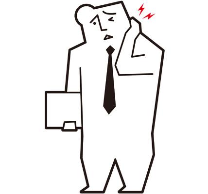 首が痛い男性会社員のイラスト