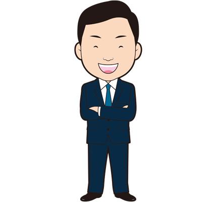 腕を組んで笑う男性ビジネスマンのイラスト