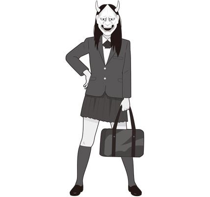 般若女子高生のイラスト