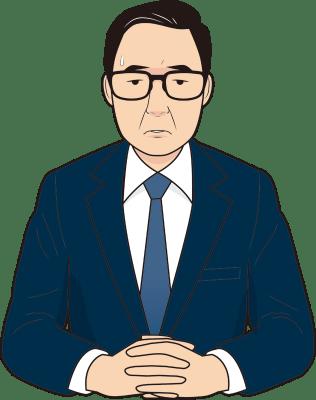 困る男性面接官のイラスト