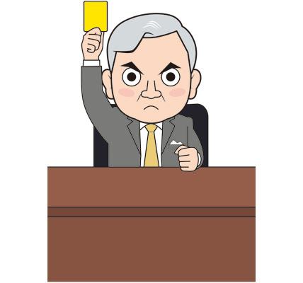 イエローカードを出す男性社長のイラスト