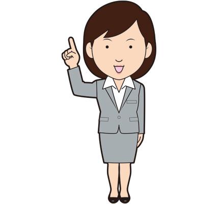 指差ししている女性ビジネスマンのイラスト