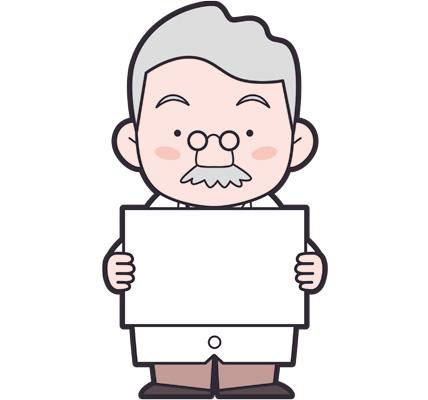 フリップを持つヒゲ博士のイラスト