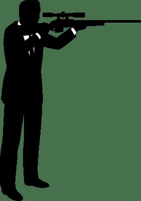 スナイパーライフルを構える男性のシルエットイラスト